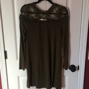 Andree Olive colored lace dress